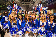 Dallas Cowboys Cheerleaders at Marylebone Station - Chiltern Railways commuters are greeted by a 'bevy of American beauties' on the Main Concourse. Chiltern Railways runs fast services to Wembley Stadium where American football teams the Jackson Jaguars take on the Dallas Cowboys on Sunday 9 November.
