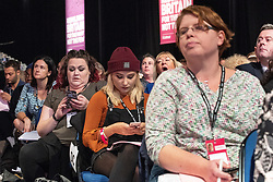 © Licensed to London News Pictures . 23/09/2018. Liverpool, UK. Delegates in the audience during the morning session . The first day of the 2018 Labour Party Conference at the Arena and Convention Centre in Liverpool . Photo credit: Joel Goodman/LNP