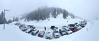 The parking lot at the top of Teton Pass was packed with cars by 8 a.m. Wednesday after almost a foot of new snow was reported in the mountains from a small storm the night before. While outdoor excercise is allowed under Teton County's shelter-in-place order, skiers and snowboarders are reminded to maintain proper social distancing even while recreating in the backcountry in order to mitigate the spread of the novel coronavirus.