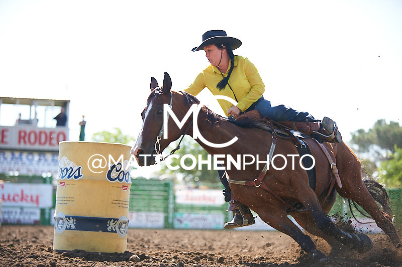 Barrel racer Paige Isaacs-Garza of Bakersfield, CA competes at the Livermore Rodeo in Livermore, CA<br /> <br /> <br /> UNEDITED LOW-RES PREVIEW<br /> <br /> <br /> File shown may be an unedited low resolution version used as a proof only. All prints are 100% guaranteed for quality. Sizes 8x10+ come with a version for personal social media. I am currently not selling downloads for commercial/brand use.