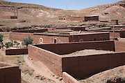 Adobe mud brick compound walls for family homes Ait- Benhaddou, Morocco