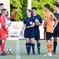 BRISBANE, AUSTRALIA - FEBRUARY 25: Danny Byrne of Olympic FC and Adam Sawyer during the coin toss of the NPL Queensland Senior Men's Round 1 match between Olympic FC and Brisbane Roar Youth at Goodwin Park on February 25, 2017 in Brisbane, Australia. (Photo by Patrick Kearney/Olympic FC)