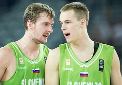 Zoran Dragic of Slovenia and Klemen Prepelic of Slovenia during basketball match between Slovenia vs Greece at Day 5 in Group C of FIBA Europe Eurobasket 2015, on September 9, 2015, in Arena Zagreb, Croatia. Photo by Vid Ponikvar / Sportida
