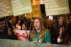 6 December 2019, Madrid, Spain: Faith-based participants from the Lutheran World Federation, the World Council of Churches and the ACT Alliance join in as thousands upon thousands of people march through the streets of central Madrid as part of a public contribution to the United Nations climate meeting COP25, urging decision-makers to take action for climate justice. Here, Lutheran World Federation delegate Erika Rodning from the Evangelical Lutheran Church in Canada.