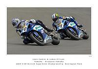 2009 ViSK British Superbike Championship. Donington Park, Derby, United Kingdom. 23/24/25 May 2009.<br /> (2) - Leon Camier (GBR) - Yamaha - Airwaves Yamaha, leads (7) - James Ellison (GBR) - Yamaha - Airwaves Yamaha.<br /> World Copyright: Peter Taylor/PSP