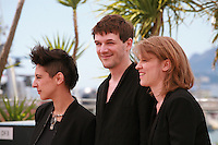 Marie Amachoukeli, Samuel Theis and Claire Burger at the photocall for the film Party Girl at the 67th Cannes Film Festival, Thursday 15th May 2014, Cannes, France.