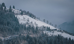 THEMENBILD - Berghänge, Bergwiesen und Bäume sind leicht mit Neuschnee bedeckt, aufgenommen am 03. Dezember 2020, Zell am See, Österreich // Mountain slopes, mountain meadows and trees are slightly covered with fresh snow on 2020/12/03, Zell am See, Austria. EXPA Pictures © 2020, PhotoCredit: EXPA/ Stefanie Oberhauser