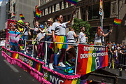 """New York, NY - 30 June 2019. The New York City Heritage of Pride March filled Fifth Avenue for hours with participants from the LGBTQ community and it's supporters. A float from the women's healthcare provider Planned Parenthood, with a banner reading """"Don't f*ck with us / don't f*ck wthout us."""""""