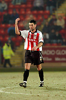 Photo: Leigh Quinnell.<br /> Cheltenham Town v Colchester United. LDV Vans Trophy.<br /> 24/01/2006. Cheltenhams Jerry Gill says bring on the Newcastle.