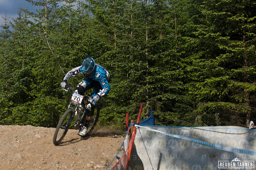 Dan Atherton (Great Britain) of team Commencal, tackles the mens Four Cross (4X) during the 2010 UCI Mountain Bike World Cup in Fort William, Scotland.
