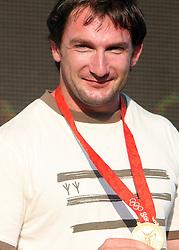 Athlete Primoz Kozmus, Olympic gold medal winner at welcome ceremony in Olympic City BTC, on August 21, 2008, in Alea Mladih, BTC, Ljubljana, Slovenia. (Photo by Vid Ponikvar / Sportal Images)./ Sportida)