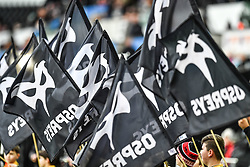 Ospreys branded flags<br /> <br /> Photographer Craig Thomas/Replay Images<br /> <br /> Guinness PRO14 Round 13 - Ospreys v Cardiff Blues - Saturday 6th January 2018 - Liberty Stadium - Swansea<br /> <br /> World Copyright © Replay Images . All rights reserved. info@replayimages.co.uk - http://replayimages.co.uk