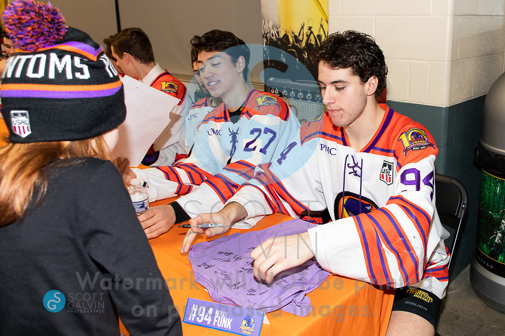 The Youngstown Phantoms lose 5-1 to the Waterloo Black Hawks at the Covelli Centre on February 29, 2020.<br /> <br /> John Larkin, defenseman, 27; Reilly Funk, forward, 94