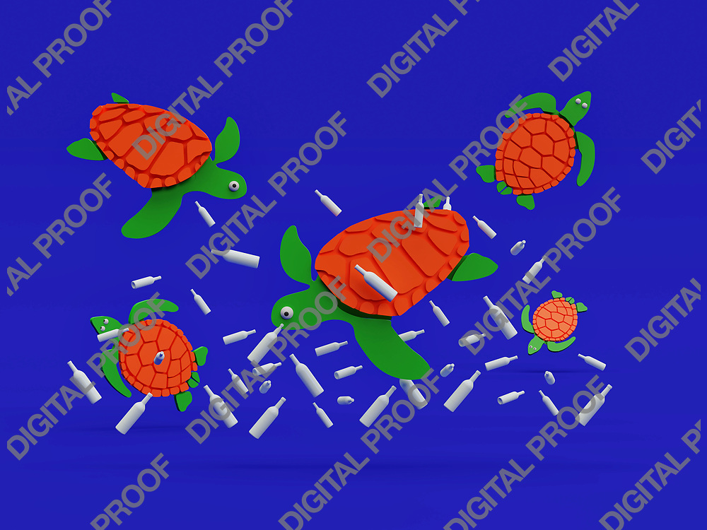 Group of sea turtles underwater with plastic pollution cut paper art concept - 3D Rendering Concept