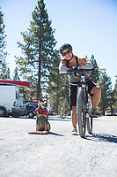 People hanging out at the parking lot at Phil's Trails in Bend, Oregon