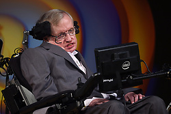 Stephen Hawking talks about his life and work during a public symposium to celebrate his 75th birthday at Lady Mitchell Hall in Cambridge.