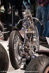 Custom Ironhead Sportster built by Andrea Radaelli of Radikal Choppers of Milan in the AMD World Championship of Custom Bike Building in the Intermot Customized hall during the Intermot International Motorcycle Fair. Cologne, Germany. Saturday October 6, 2018. Photography ©2018 Michael Lichter.