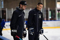 Anze Kopitar with Ziga Pavlin during Anze Kopitar's ice hockey academy in Sport hall Bled, 2nd July, 2020, Bled, Slovenia. Photo by Grega Valancic / Sportida