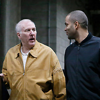 18 February 2014:  San Antonio Spurs head coach Gregg Popovich and San Antonio Spurs point guard Tony Parker (9) arrive at the Staples Center prior to the San Antonio Spurs 113-103 victory over the Los Angeles Clippers at the Staples Center, Los Angeles, California, USA.