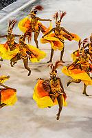 Dancers perform in the Carnaval parade of Academicos da Rocinha samba school in the Sambadrome, Rio de Janeiro, Brazil.