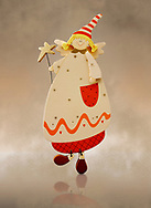 Hand made artisan wooden angel tree decoration, , cut out