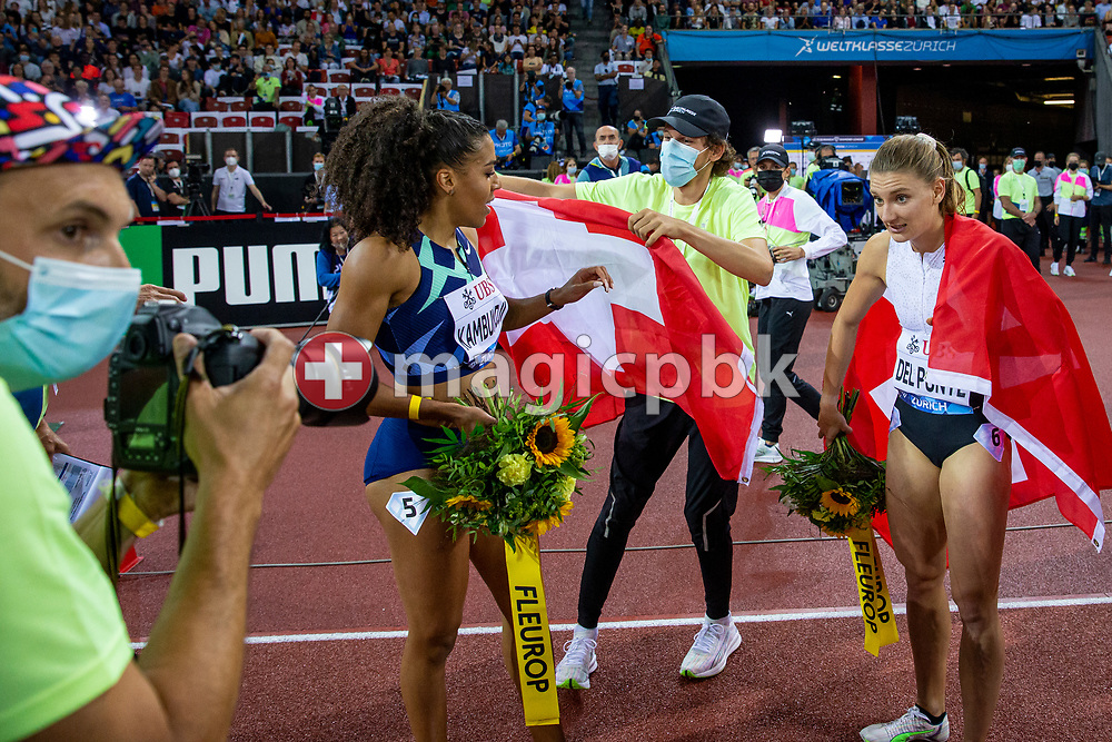 (L-R) Fifth placed Mujinga Kambundji and third placed Ajla Del Ponte of Switzerland react after competing in the women's 100m during the Iaaf Diamond League meeting (Weltklasse Zuerich) at the Letzigrund Stadium in Zurich, Switzerland, Thursday, Sept. 9, 2021. (Photo by Patrick B. Kraemer / MAGICPBK)