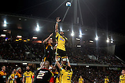 Hurricanes' Victor Vito goes for the lineout ball. Super Rugby rugby union match, Chiefs v Hurricanes at Waikato Stadium, Hamilton, New Zealand. Saturday 28th April 2012. Photo: Anthony Au-Yeung / photosport.co.nz