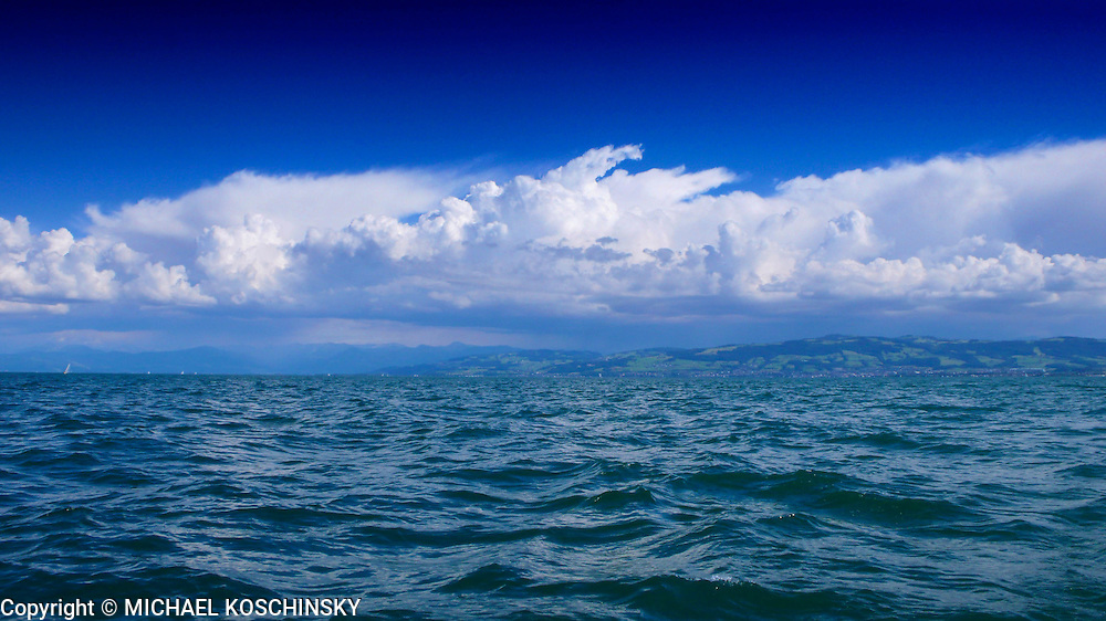 Thunderstorm brewing over lake Constance