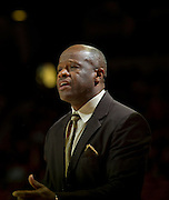 Nov 16, 2011; Fayetteville, AR, USA;   Arkansas Razorback head coach Mike Anderson stands on the sidelines during a game against the Oakland Grizzlies at Bud Walton Arena. Arkansas defeated Oakland 91-68. Mandatory Credit: Beth Hall-US PRESSWIRE