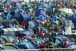 The campsite on Sunday 10th July, 2005 at the two-day T in the Park festival, at Balado, Kinross-shire, Scotland..