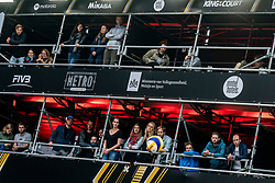 Supporters are safe from each other in their own VIP box<br />  during the first day of the beach volleyball event King of the Court at Jaarbeursplein on September 9, 2020 in Utrecht.