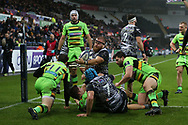 Dmitri Arhip of the Ospreys © celebrates after he scores his teams 1st try. European Rugby Champions Cup, pool 2 match, Ospreys v Northampton Saints at the Liberty Stadium in Swansea, South Wales on Sunday 17th December 2017.<br /> pic by  Andrew Orchard, Andrew Orchard sports photography.