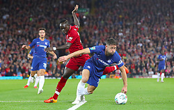 Liverpool's Sadio Mane (left) and Chelsea's Gary Cahill battle for the ball during the Carabao Cup, Third Round match at Anfield, Liverpool.