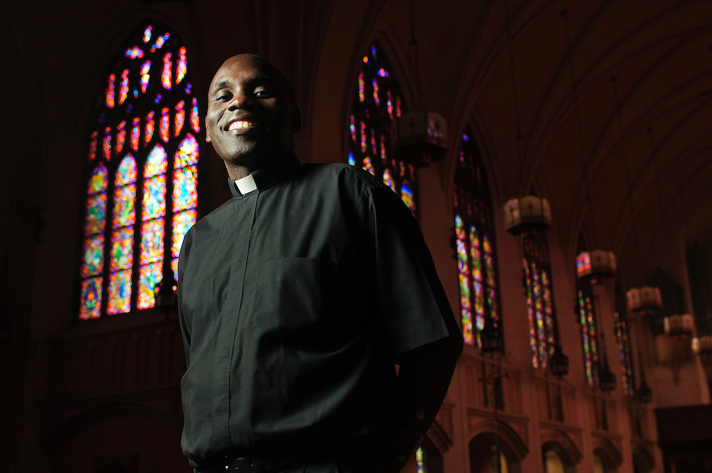 Kenyan George Omwando is Pastor at St. Catherine of Siena Ð St. Lucy Catholic Parish in suburban Oak Park. Friday, September 20.© 2013 Brian J. Morowczynski ViaPhotos<br />                           <br /> For use in a single edition of Catholic New World Publications, Archdiocese of Chicago. Further use and/or distribution may be negotiated separately. <br /> <br /> Contact ViaPhotos at 708-602-0449 or email brian@viaphotos.com.