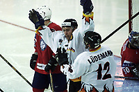 Icehockey. Qualification Olympic Games. Norway-Germany 8 january 2001. Norge-Tyskland, Jordal Amfi. Klaus Kathan score 3-2 to Germany. Mirko Ludemann (right), Germany.