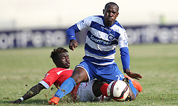 Musa Mudde of AFC Leopards tackles Kevin Okoth of Western Stima during their Sportpesa Premier League tie at Nyayo Stadium in Nairobi on July 29, 2017. Photo/Fredrick Omondi/www.pic-centre.com(KENYA)