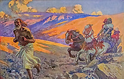 """ELIJAH RUNS BEFORE THE CHARIOT OF AHAB. I Kings xviii. 46. """"And the hand of the Lord was on Elijah; and he girded up his loins, and ran before Ahab to the entrance of Jezreel. From the book ' The Old Testament : three hundred and ninety-six compositions illustrating the Old Testament ' Part II by J. James Tissot Published by M. de Brunoff in Paris, London and New York in 1904"""