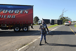 South Africa - Cape Town - 07 July 2020 -  Trucks obstructed the N1 outgoing near Kraaifontein. Hundreds of truck drivers embarked on a nationwide shutdown protesting against the employment of foreign nationals. Picture: Henk Kruger/African News Agency(ANA)