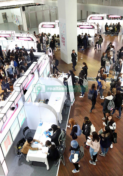 March 8, 2016 - ¼ÂÂ¿Ã - Career development fair for freshmen Freshmen visit makeshift booths at Ehwa Womans University in Seoul on March 8, 2016, to consult senior students on career development. The Freshmen Career Design Fair brought together 90 senior students as mentors who have some experience in 14 fields including internship programs in and out of the country, state-administered exams, exchange student programs and volunteer actitivities. (Credit Image: © Yonhap News/Newscom via ZUMA)