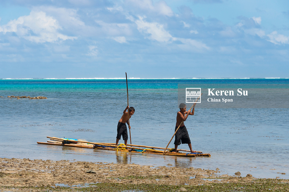 Bamboo raft on the ocean, Yap Island, Federated States of Micronesia