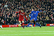 Mohamed Salah of Liverpool shoots and scores his teams 2nd goal to make it 2-1. Premier League match, Liverpool v Leicester City at the Anfield stadium in Liverpool, Merseyside on Saturday 30th December 2017.<br /> pic by Chris Stading, Andrew Orchard sports photography.