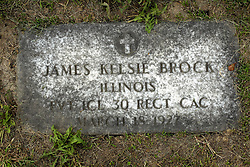 31 August 2017:   Veterans graves in Park Hill Cemetery in eastern McLean County.<br /> <br /> James Kelsie Brock  Illinois Private First Class 30 REGT CAC  March 18 1927
