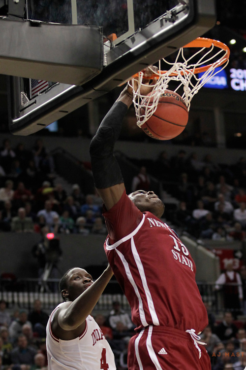 15 March 2012: New Mexico State Aggies center Tshilidzi Nephawe (15) as the New Mexico State Aggies played the Indiana Hoosiers in the Second Round of the NCAA Division I Men's Basketball Championship at the Rose Garden in Portland, OR.