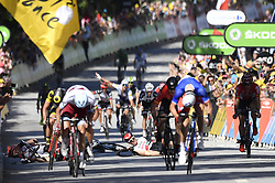 July 4, 2017 - Vittel, FRANCE - German John Degenkolb of Trek-Segafredo, Great Britain Mark Cavendish of Dimension Data and Great Britain's Ben Swift of UAE Team Emirates felt while French Arnaud Demare of FDJ sprints to win the fourth stage of the 104th edition of the Tour de France cycling race, 207,5 km from Mondorf-les-Bains, Luxembourg, to Vittel, France, Tuesday 04 July 2017. This year's Tour de France takes place from July first to July 23rd...BELGA PHOTO DIRK WAEM (Credit Image: © Dirk Waem/Belga via ZUMA Press)