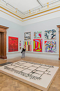 Black Path by Cornelia Parker, foreground - The Royal Academy's 249th Summer Exhibition - co-ordinated by Eileen Cooper RA. The hanging committee will consist of Royal Academicians Ann Christopher, Gus Cummins, Bill Jacklin, Fiona Rae, Rebecca Salter and Yinka Shonibare. This year, the Architecture Gallery will be curated by Farshid Moussavi RA. The exhibition, sponsored by Insight Investment is open to the public 13 June – 20 August 2017. London 07 June 2017.