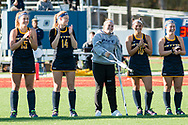 Pleasantville, New York - Pace University field hockey players are introduced before the first round of a Northeast-10 Conference playoff game on Oct. 31, 2017.