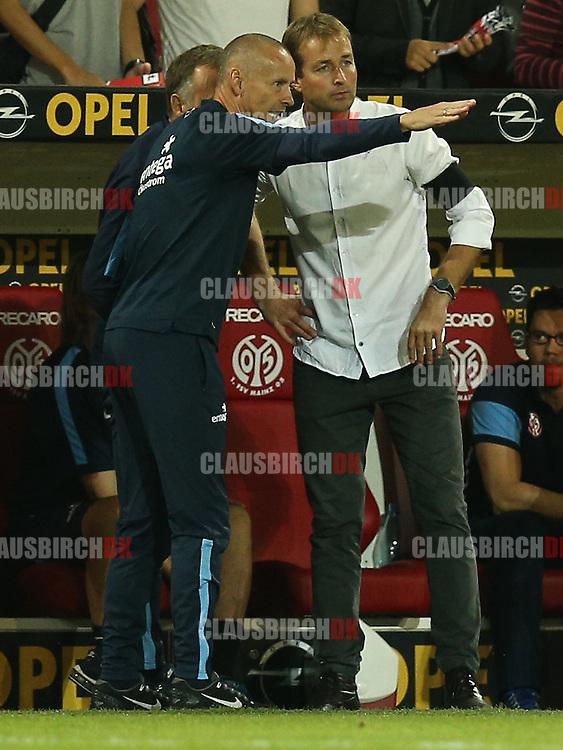 FOOTBALL: Assistant Coach Flemming Pedersen and Head Coach Kasper Hjulmand (1. FSV Mainz 05) during the Bundesliga match between 1. FSV Mainz 05 and Borussia Dortmund at Coface Arena on September 20, 2014 in Mainz, Germany. Photo: Claus Birch.
