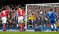 Photo: Ed Godden/Sportsbeat Images.<br /> Chelsea v Nottingham Forest. The FA Cup. 28/01/2007.<br /> Chelsea's Didier Drogba (hidden) scores to make it 2-0.