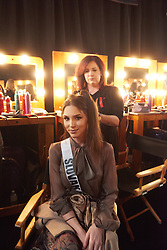 December 8, 2019, Atlanta, Georgia, USA: Laura Longauerová, Miss Slovak Republic 2019 gets hair done by a stylist from Farouk Systems, the Makers of CHI & Biosilk backstage during The Miss Universe Competition telecast, held at Tyler Perry Studios. Contestants from around the globe have spent the last few weeks touring, filming, rehearsing and preparing to compete for the Miss Universe crown. (Credit Image: © Benjamin Askinas/Miss Universe Organization via ZUMA Wire)