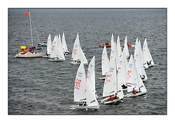 470 Class European Championships Largs - Day 1.Racing in grey and variable conditions on the Clyde..Men's Fleet Start